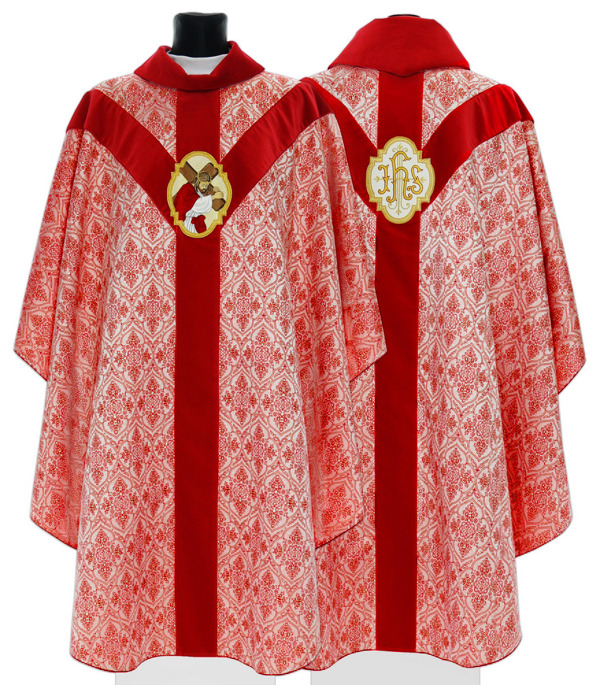 Red Semi Gothic Chasuble model 206