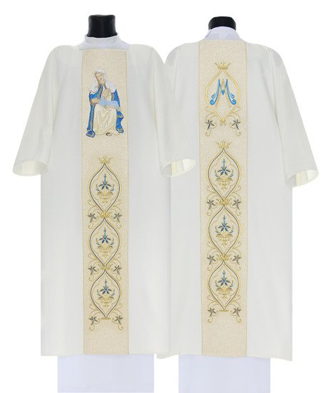White Marian Gothic Dalmatic Our Lady of Providence model 428